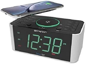 Emerson Alarm Clock Radio and QI Wireless Phone Charger with Bluetooth, Compatible with..