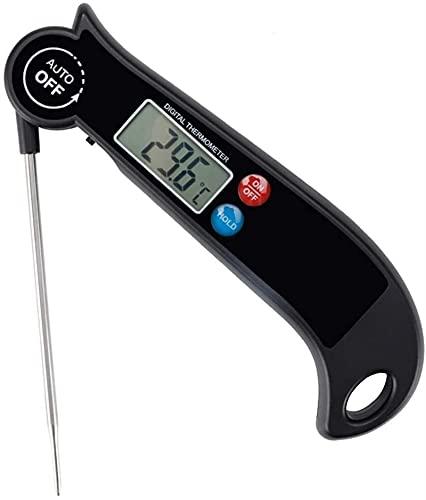 WGZ Termómetro de Carne, Termómetro de Comida de cocción de Lectura instantánea Digital con sonda Plegable, luz de Fondo LCD Pantalla, Auto Encendido/Apagado Alta precisión (Color : Black)