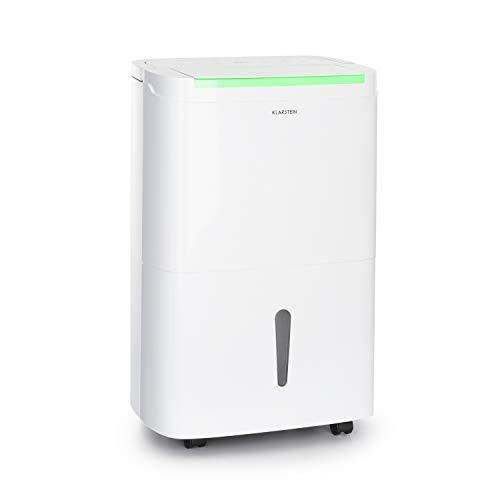 KLARSTEIN DryFy Connect - Deumidificatore, Interfaccia WiFi, Serbatoio da 7 L, Target Umidità Programmabile, Timer, Silenzioso, 230 m³/h, Assorbimento 30 L/24H, Bianco