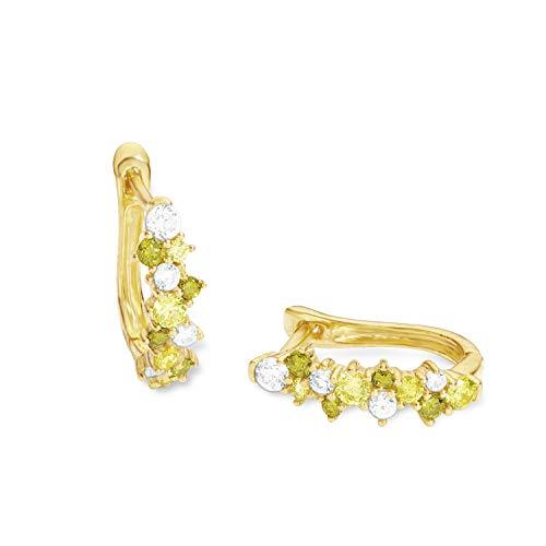 amor Creole für Damen Silber gelbvergoldet Zirkonia mehrfarbig