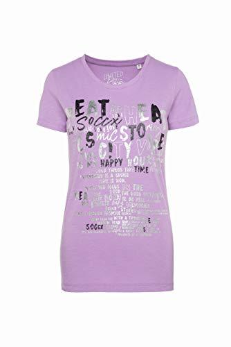 SOCCX Damen T-Shirt mit Folien-Print