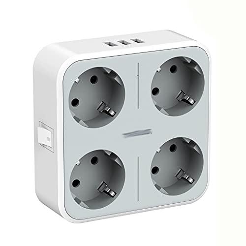 YWSZJ Multi Outlets Expander Wall USB Socket EU Plugs Power Strip con 4 Salidas 3 Puertos USB y Interruptor de Encendido/Apagado