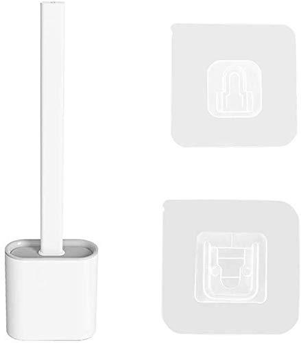 ブラシとホルダーセットクリエイティブシリコーンクリーニングブラシセットソフト隙間ブラシシリコンブリスルロングハンドルバスルームキットコーナーの掃除が簡単 (白い)