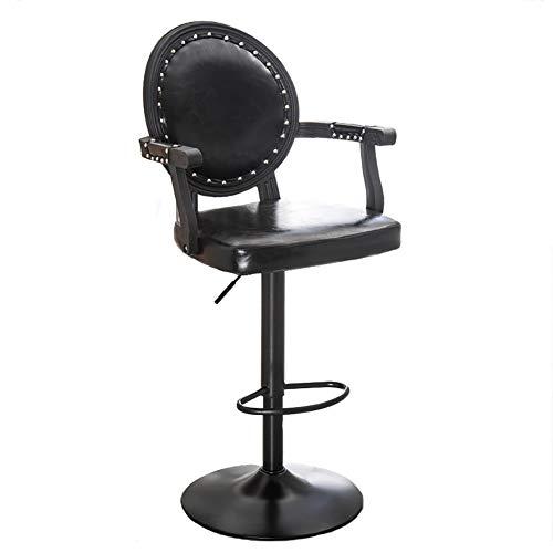 DENG Ajustable giratoria Taburete con reposabrazos y reposapiés, cómodos Cojines for Sentarse (Color : C, tamaño : Seat Height 62-82cm Adjustable)