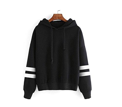 Fashion Women Long Sleeve Hoodie Sweatshirt Jumper Hooded Coat Pullover Tops Casual Blouse (S, Black)
