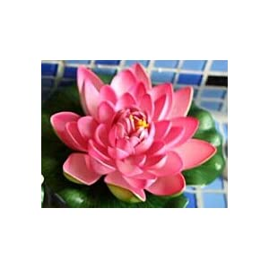 Artificial and Dried Flower Simulation 18cm Large EVA Water Lily Hibiscus Flower Decoration Artificial Flowers Home Decoration – ( Color: Pink )