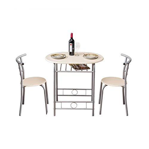 Chairs 3 Piece Dining Set,with Metal Frame,for Apartment and Kitchen Bistro Breakfast