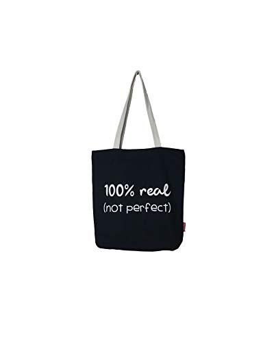 Hello-Bags. Bolso Tote. Algodón 100%. Modelo Negro. con Cremallera, Forro y Bolsillo Interior. 37 * 38 cm. Incluye Bonito sobre Kraft de Regalo.