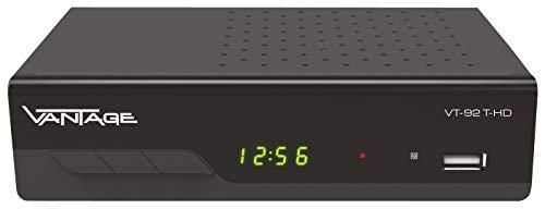 Vantage VT-92 T-HD Receiver, Digitaler DVB-T2 Receiver für HDTV zum empfang aller freien DVB-T Programme (HD+SD Qualität) HEVC, USB, HDMI, SCART, Coaxial Audio Ausgang, Mediaplayer, schwarz