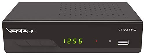 Vantage VT-92 T-HD Receiver (DVB T2, HEVC, Display, USB, HDMI, SCART, Mediaplayer) schwarz