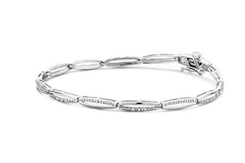 Miore Armband Damen 0.13 Ct Diamant Armreif aus Weißgold 9 Karat / 375 Gold, Armschmuck mit Diamanten Brillianten 18 cm lang