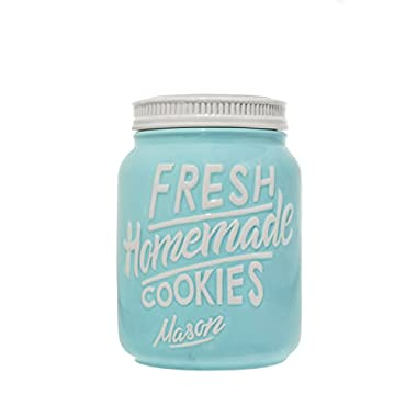 Blue Ceramic Mason Jars Cookie Jar - Keep Your Cookies & Baked Goods Fresh with an Airtight Lid | Handy Container | Vintage Farmhouse Decor & Collector Gift | Rustic Kitchen Accessory by Goodscious