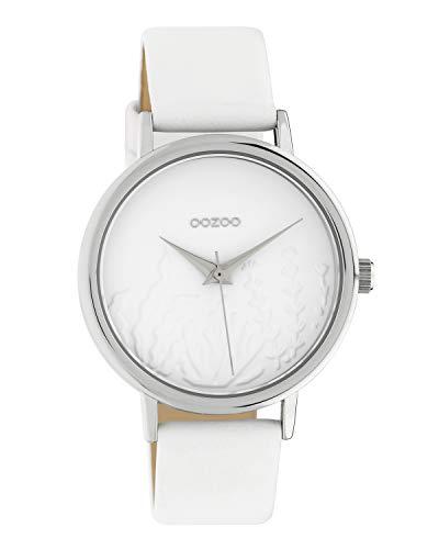 Oozoo Damenuhr Summer Vibes mit Lederband 36 MM Silberfarben/Weiß C10600