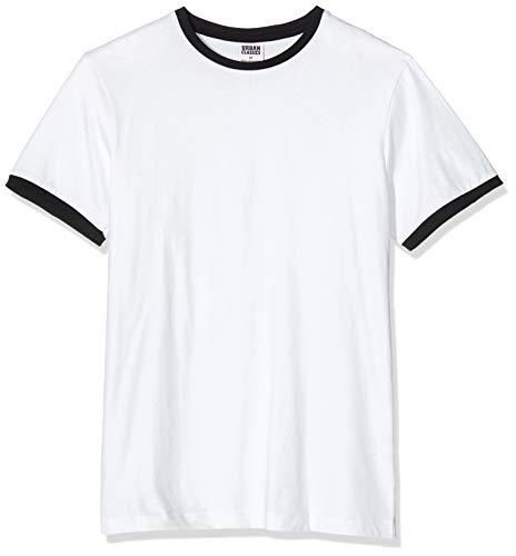 Urban Classics Herren Ringer Tee T-Shirt, Mehrfarbig (wht/blk 224), Small