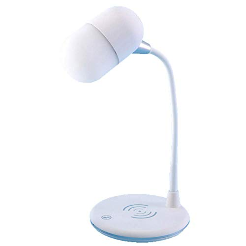 SHKY USB-Ladeschreibtischlampe, pflegende Tischlampe mit schnellem kabellosem Ladegerät und Lautsprecher, kabellose Ladelampe für iPhone X/XS/XR/Xmax / 8,Weiß