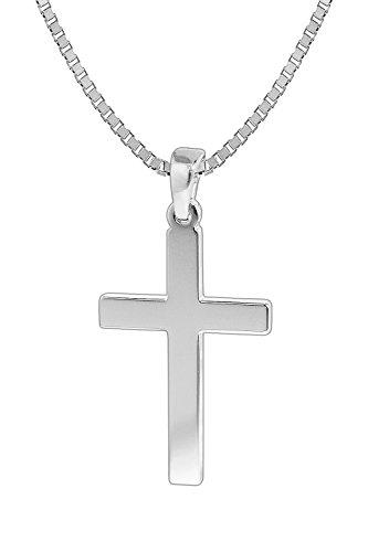 trendor Herren-Halskette mit Kreuz-Anhänger Silber 925 Kreuz Kette Herren, Kreuz Anhänger Silber 925, modische Geschenkidee, zeitloser Herrenschmuck 35844