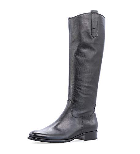 Gabor Damen Stiefel, Frauen Stiefel,Reiterstiefel, Boots lederstiefel langschaftstiefel reißverschluss,schwarz,44 EU / 9.5 UK