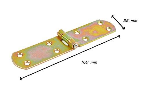 * Scharniere gelb verzinkt | halbbreit und breit | 3 Größen wählbar: 80 x 58 mm – 160 x 35 mm – 250 x 40 mm | Beschläge für Türen, Möbel, Deckel, Kisten (2, 160 x 35)