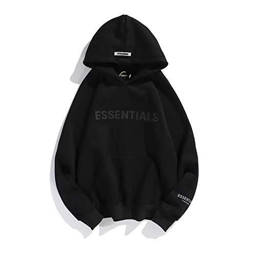 Fog Double Line Hoodie 3M Reflective Sleeve Letters and Fleece Hooded Fashion Jacket Black