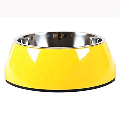 Comedero - Big Dog acero inoxidable Comedero de gato plato doble Plato de Arroz de Big Dog Food tazón Plato de Arroz múltiples colores y un jarro de Fines Múltiples ( Color : Yellow , Size : Medium )