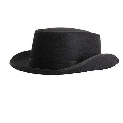 pinzhieinfachheit Unisexe Court Brim Ribbon Décor British Style Jazz Cap chapeau Fedora Noir