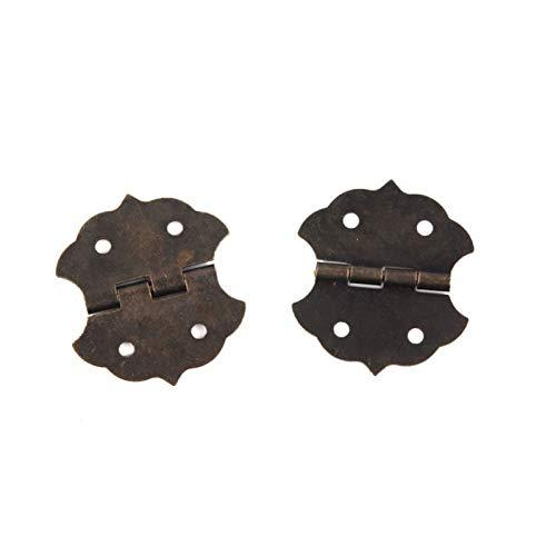 Bisagra Bisagra de la puerta del gabinete de la pequeña flor, bisagras de tope para la caja de bricolaje, accesorio de bolsas de tono de bronce de 4 hoyos, 29 * 32 mm, con tornillos, 12pcs bisagra de
