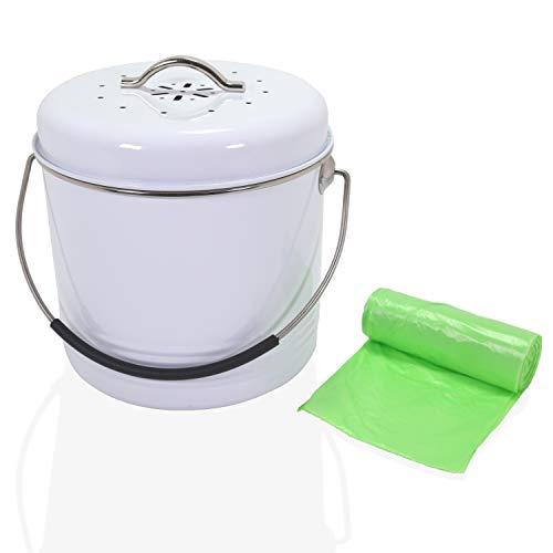 Yangtastic Contenedores de Compostaje de Cocina 4,5 Litro 1 galón Cubo de basura para compost incluye tapa de silicona, filtro de carbón, 20 bolsas biodegradables