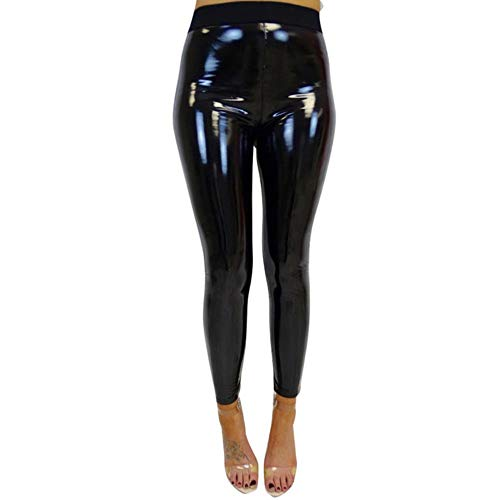 SELLM Ladies High Waist Leggings Stretch Shiny Wet Look Pu Leather Black Pants Slim Workout Trousers Women Skinny Legging,Black,XL