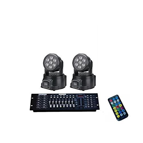 KIT 2 Proiettore LED RGB Testa Mobile Rotante 7 LED WASH DMX + MIXER RGB CON DMX 192 Canali + Telecomando IR By partenopeautensili