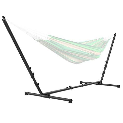 Todeco - Support pour Hamac de Jardin Camping, Armature en Acier pour Hamac - Accessoires: Hamac Non Inclus - Dimensions: 296-380 x 107-132 x 100 cm - avec Sac de Transport