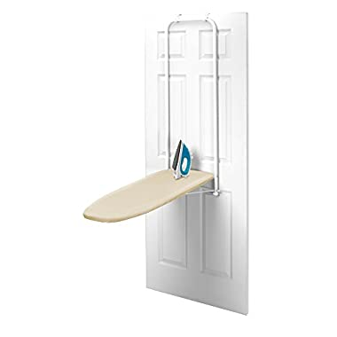 HOMZ Over-the-Door Steel Top Ironing Board, Foldable, with Free Set of Dryer Balls Included