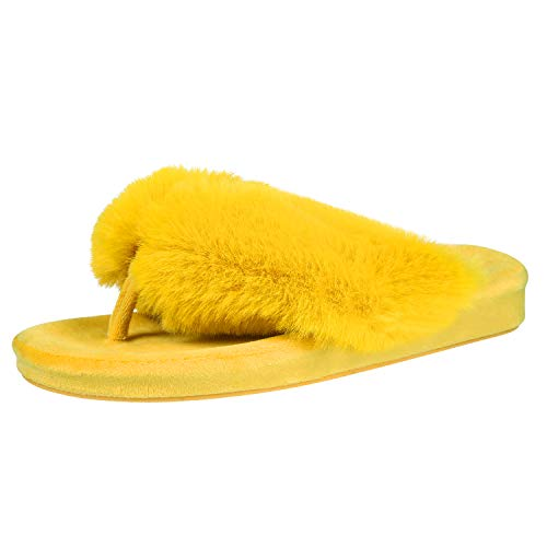 Fuzzy Flip Flop Slippers for Women Memory Foam Arch Support Thong Slippers, Mustard Yellow, 8-8.5
