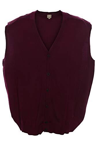 Maerz Weste Cardigan Strickjacke Pulli Wolle Merino Herren V Ausschnitt Plusgröße, Farbe:Bordeaux, Herrengrößen:62