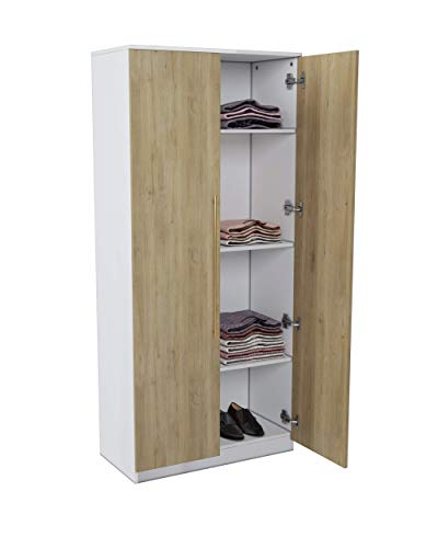 Modena 70 Inch Storage Cabinet and Armoire - Cabinet Storage with Customizable or Detachable Shelf - Beige Oak/White