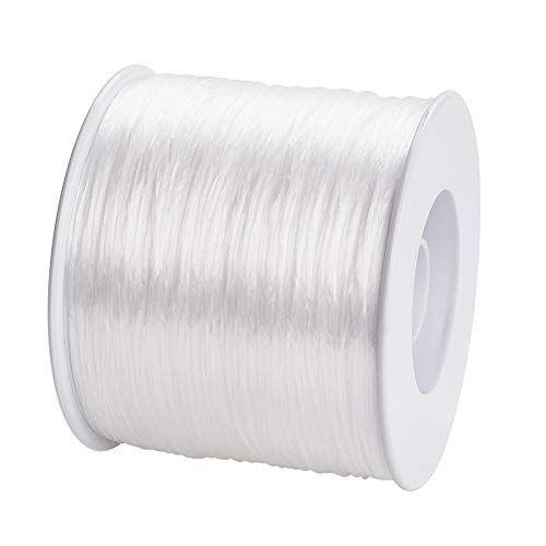 Pandahall 500m/roll Elastic Bracelet String 0.3mm Clear Crystal Stretch Bead Cords for Seed Beads Jewelry Making