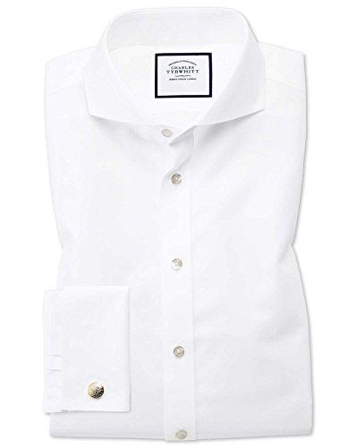 Charles Tyrwhitt Bügelfreies Twill Hemd mit Extremem Haifischkragen - Weiß Knopfmanschette