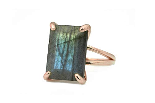 Anemone Jewelry Rare Labradorite in 14k Rose Gold - Statement Stone Rings for Formal and Casual - Handmade Gemstone Rings, Engagement, Wedding, Gifts - with Charming Box