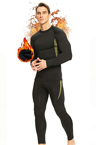 Thermal Underwear for Men Long Johns Thermal Set Base Layer Bottom Top Fleece Lined Ultra Soft Black S