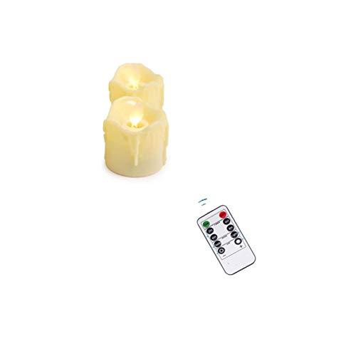 2 velas de Navidad con mando a distancia o no funcionan con pilas, sin llama, mecha móvil