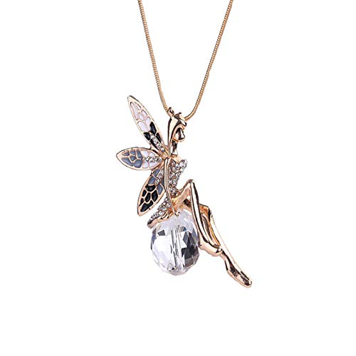 JHCHA Colgante de hadas de oro con cristal transparente, Diosa de ángel con alas para decoración de suéter, joyería de moda, collar de cadena de serpiente, regalo para mujeres de San Valentín