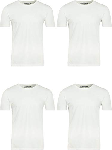 riverso 4er Pack Herren Basic T-Shirt RIVNico V-Ausschnitt Kurzarm Uni Tee Regular Fit Baumwolle Weiß Schwarz Grau Blau S M L XL 2XL 3XL 4XL 5XL, Größe:L, Farbe:4X Weiß (V-Neck)
