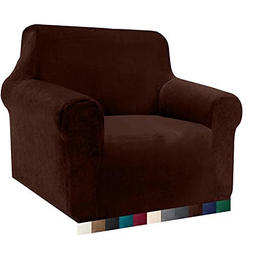 Luxurlife Velvet - Funda de sofá elástica de 1 plaza con reposabrazos para salón, antideslizante (1 plaza, chocolate)