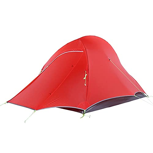 Tent Ultralight Camping Tent 2 Person Easy Set Up Double Layer Waterproof Fish Shape Design Tent for Hiking Cycling Shelters (Color : Red)