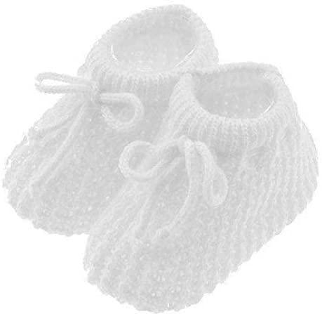 Booties pour nouveau-né, fille et garçon. En tricot doux. - blanc - Taille unique