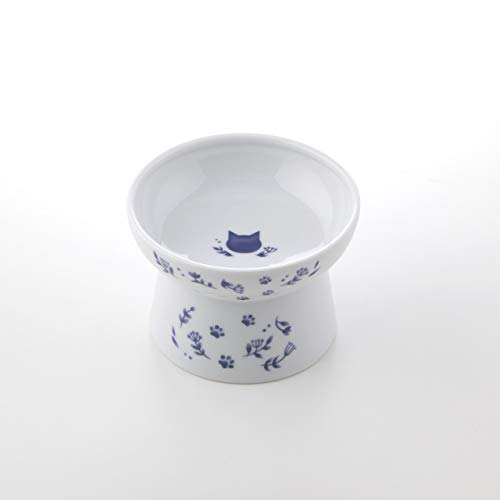 Necoichi Raised Cat Food Bowl, Stress Free, Backflow Prevention, Dishwasher and Microwave Safe, Made to FDA/EC&ECC European Standard (Nordic Blue Limited Edition)