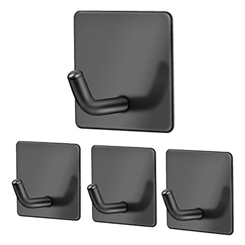Ganchos adhesivos para baño de acero inoxidable, 4 unidades, ganchos para toallas de baño, color negro, autoadhesivos, ganchos para colgar en la pared, toallas, baño, accesorios de cocina, baño – Mate
