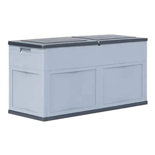 Pissente Caja de almacenamiento grande con cerradura, con cerradura, contenedor de almacenamiento al aire libre, impermeable, caja de almacenamiento para exteriores de 320 l, gris y blanco