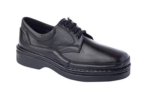 CALZAFARMA Mod.7118 - Zapato Clásico Cosido a Mano, Empeine Elástico (Licra) Resto 100% Piel, Ancho Especial Apto para Plantillas Ortopédicas, Plantillas de EVA Extraíbles Incluidas. (40)