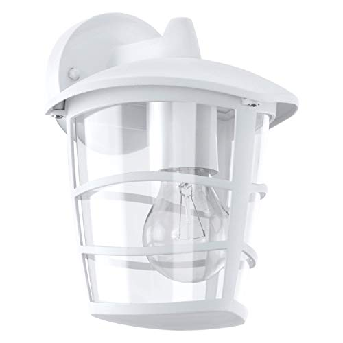 Eglo ALORIA Outdoor wall lighting E27 Color blanco - iluminación al aire libre (Outdoor wall lighting, Color blanco, Aluminio, De plástico, IP44, Entrada, Jardín, Patio, 1 bulb(s))