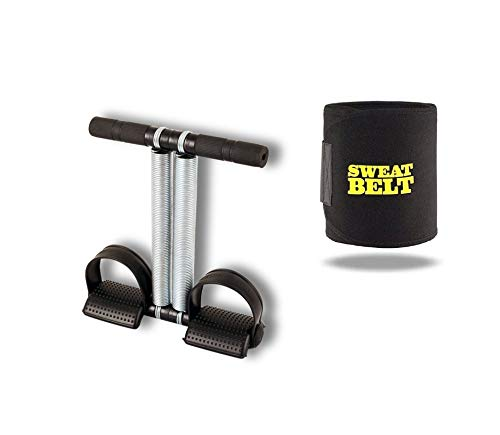 Fitverse Steel Double Tummy Trimmer with Sweat Belt Combo (Black)